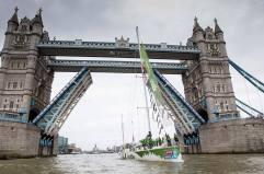 Action shot through Tower Bridge
